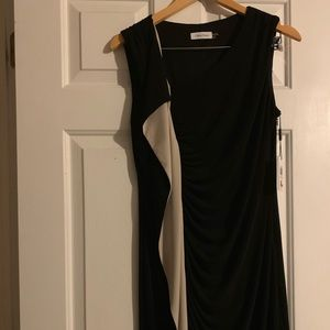 Calvin Klein black & tan dress